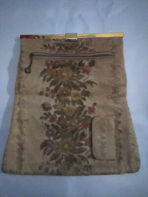 Antique Vintage Cut Velvet Folded Clutch Purse-ca. 1920s/30s