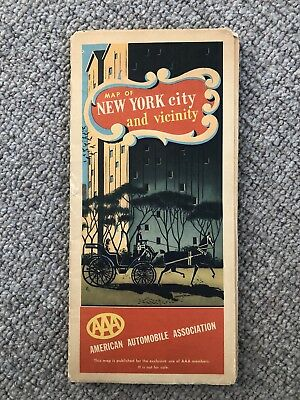 AAA Map Of New York City And Vicinity - 1955
