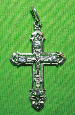 Vintage Crucifix 925 Silver Cross Pendant Orthodox Crosses Collecting #133