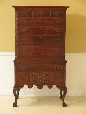 F45704EC: WILLIAMSBURG GALLERIES Ball & Claw Mahogany Highboy