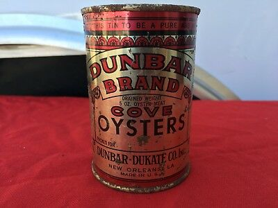 Dunbar Brand Cove Oysters New Orleans Vintage Can ~ 5 oz of meat (drained) 1950s