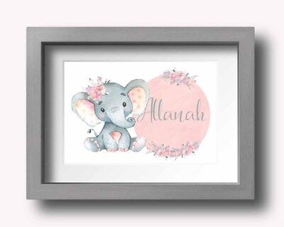 A4 Nursery/Baby/Girls/Gift Wall Print Watercolour Floral Pretty Animals Elephant