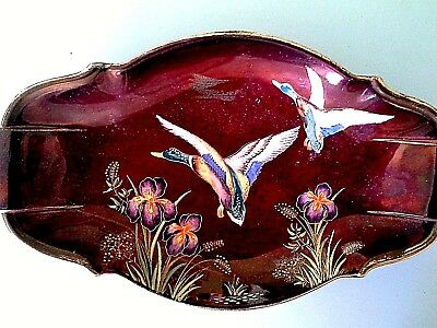 CARLTONWARE HAND PAINTED AND ENAMELLED DISH ( my box 6  59
