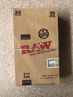 RAW Unrefined Classic (24 Packs/50 per Pack)Box Rolling Papers 1 1/4 !AUTHENTIC!