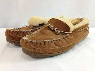 3c2c23634f0 LL Bean Wicked Good Slippers Moccasins Mens 9 M Brown Slip On Lined Leather