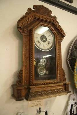 Rare Antique Ansonia Wall or Mantle Clock with Alarm in Carved Oak Case