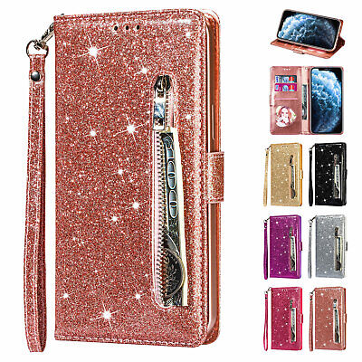 Fr iPhone XS Max/XR/XS Leather Glitter Bling Zipper Wallet Stand Flip Case Cover