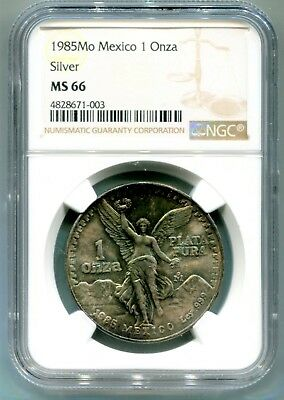 1985 Mexico 1 silver Onza. Rainbow.  NGC MS66