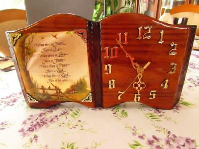 Vintage Open Book/Bible Style Handcrafted Wooden Wall Clock (EUC)