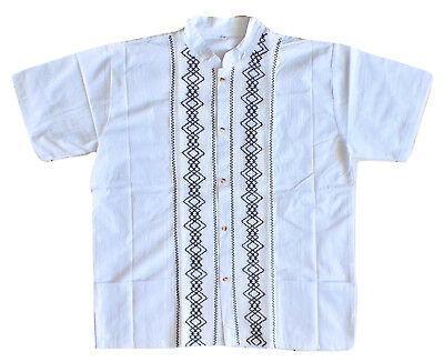 Mens Handmade Traditional Mexican Guayabera Shirt Medium Large XL Fiesta Wedding