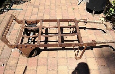 Antique Cast Iron Wheel Hand Truck Dolly St Louise 1912 Coffee Table Steampunk