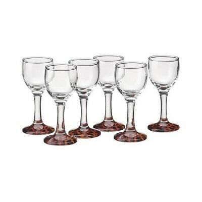 Set Of 6 Tall Shot Vodka Glasses With Brown Panther Base 40ml