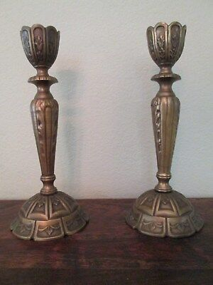 """15"""" by 6 1/2"""" Heavy Solid Bronze Candleholders Candlesticks England 1920s"""