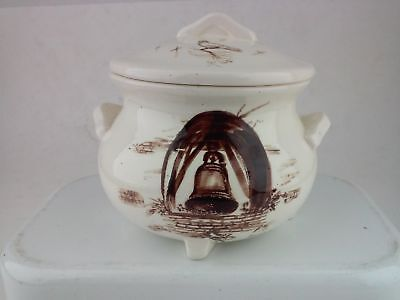 Ceramic Jar Bowl Hand Painted Fay White Napa Calif 1973 Mission Bells Cross