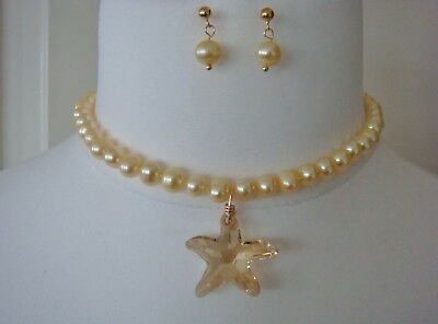Primrose cultured pearl & Swarovsky Crystal knotted necklace & earring set