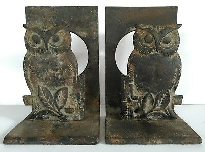 Antique Cast Iron Figural Owl Bird Arts & Crafts Bookends Book Ends Vintage Pair
