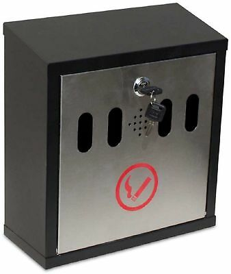 QualArc Winfield Series Hayward Wall Mount Ash Receptacle in Black/Stainless