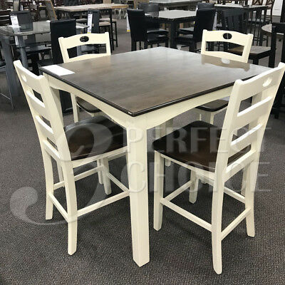 Modern 5 pcs Counter Height Square Wooden Dining Room Kitchen Set Cream Brown