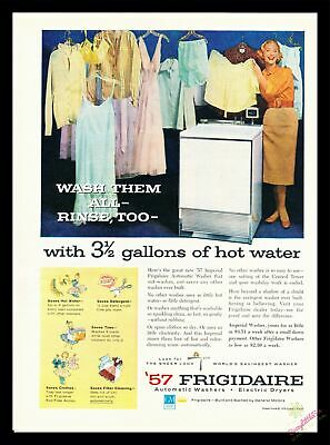 1957 Vintage Print Ad~Frigidaire~Washer~Washing Machine~Color~J600