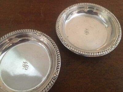 2 BIRKS sterling silver coasters with initial S, excellent condition.