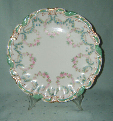 "Vintage T&V Limoges France Porcelain Plate Hand Painted ~ 9 1/2"" Diameter"