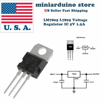10 x lm7805 l7805 7805 ic positive voltage regulator 5v 1 5a to 22010 x lm7805 l7805 7805 ic positive voltage regulator 5v 1 5a to 220 usa