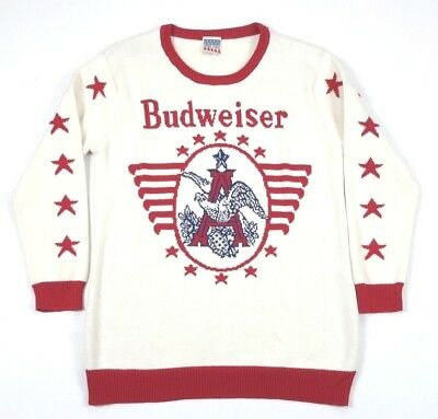 junk food budweiser beer cream red knit christmas sweater 2xl xxl adult