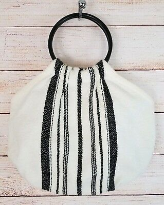 Vintage Shyella Fabric Handbag Round Plastic Handle Cream w/ Black Stripes