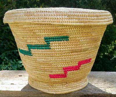 Hand woven basket with lid made in Kenya + Free Bible
