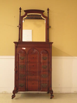 F23156E: Antique Chippendale Style Block Front Mahogany Chest w. Mirror
