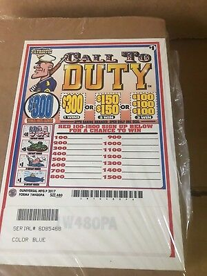 """""""Patriotic Pack"""" 1 Window Pull Tab 480 Tickets Payout $363   MADE IN THE USA"""