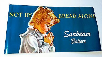 Old Vintage Sunbeam Bread Store Window Paper Sign/ Old Store Stock 1976