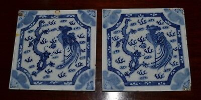 Two Small Antique Chinese Blue and White Plaques Dragon and Pheonix