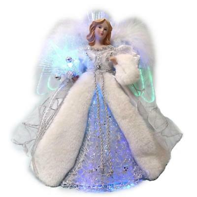 """12"""" LED Fiber Optic Angel Silver Tree Topper Christmas Holiday Decoration"""