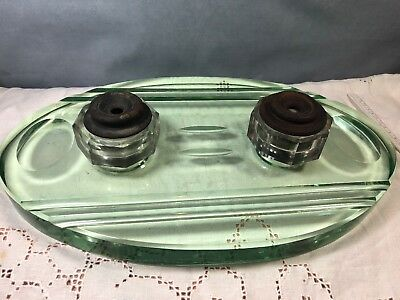Antique Art Deco Inkwell Holder Desk Set Pen Holder Green Glass Sengusch (13)