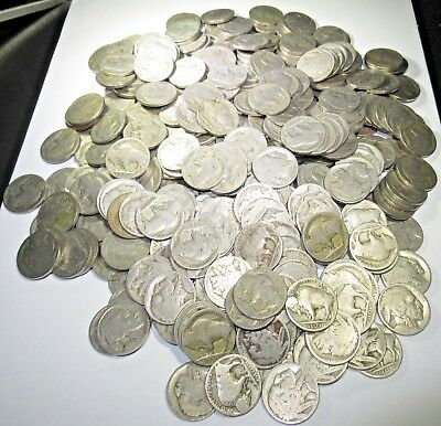 Lot of 400 No Date U.S. Buffalo Nickel 5C Coins US Antique Currency Junk Drawer