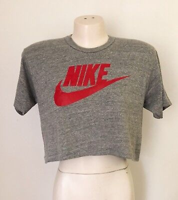 Vintage 80s Nike Cropped Half T Shirt Gray Grey L