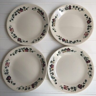 Lot of 4 Corelle Garden Home Birdhouses Bread and Butter Plates Vintage