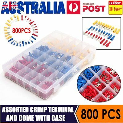 800Pc Electrical Wire Connector Assorted Insulated Crimp Terminals Spade Set IB