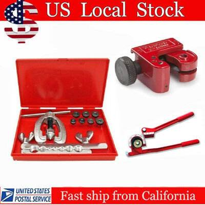 Tubing Bender Cutter Double Flaring Tool Kit 3 Way Brake Line Plumbing Repair