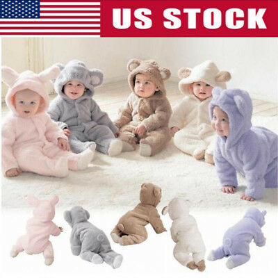USA Newborn Baby Infant Boy Girl Romper Hooded Jumpsuit Outfits Bodysuit Clothes