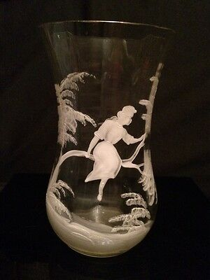 Antique Mary Gregory Style Mouth Blown and Hand Painted Vase circa 1800's