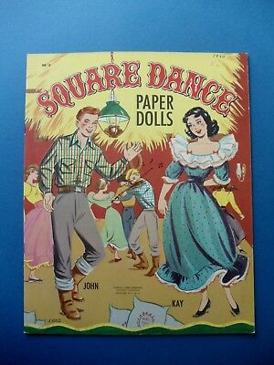 Vintage 1950 SQUARE DANCE Paper DOLLS Book Orig UNUSED Samuel Lowe 968 J VOELZ
