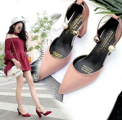 Women Suede Point Toe Block Mid Heel Sandals Pearls Ankle Strap Comfy Work Shoes