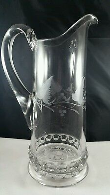 Lovely Vintag Antique Etched Floral Heavy Glass Crystal Water/Wine Pitcher Vgc