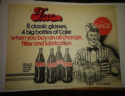 Coca Cola Hard Plastic Free Glasses & Bottles Of Coke With Oil Change Sign