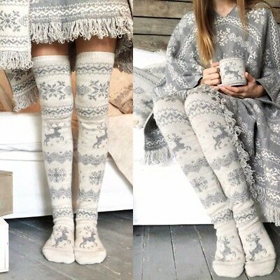 Women Christmas Soft Thick Over Knee Socks Stretch High Long Stockings Knit Xmas