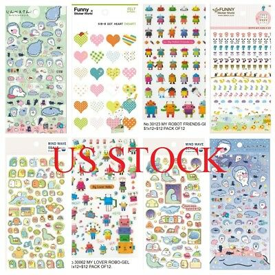 Buy 1 get 4 free Anime Animal Food Toy Gel Puffy Felt Crystal Stickers Edition 3