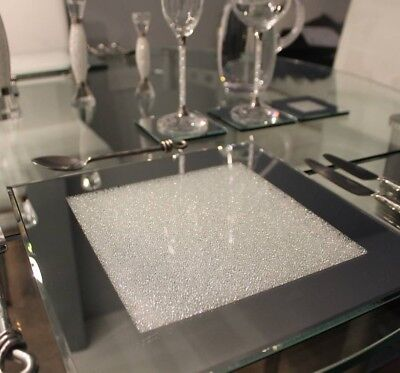 Sparkly mirrored glass and white crush diamond candle plate place mat