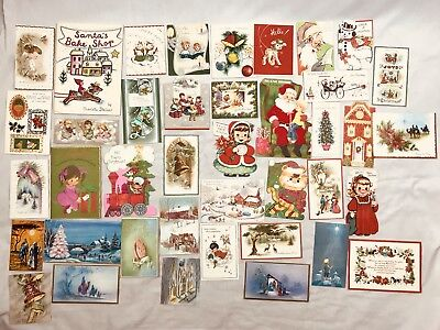 Vintage Lot of 40 Christmas Holiday Greeting Cards Used & Unused Book Card